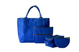 Linen: Canvas: Tote: Marie In Blue Waxed.