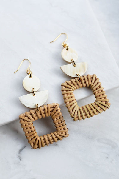 Jewelry: Earrings: Tu 16K Gold-Plated Brass Buffalo Horn & Rattan/Wicker Square Geo Statement.