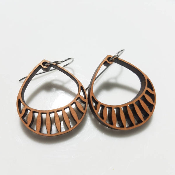 Jewelry: Basket Earrings in wood.