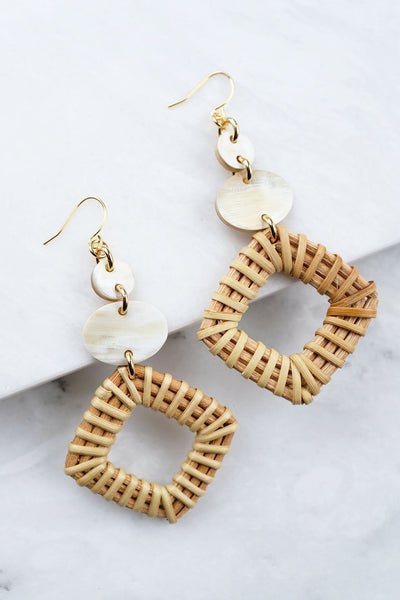 Jewelry: Earrings: Xuan 16K Gold-Plated Brass Buffalo Horn & Rattan/Wicker Geo Statement.