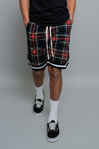 Cotton: Mens: Shorts 95%: Plaid Basketball.