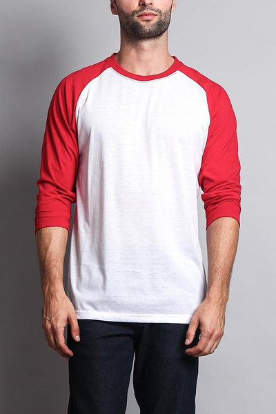 Cotton: Mens: T-Shirt: (White/Red).