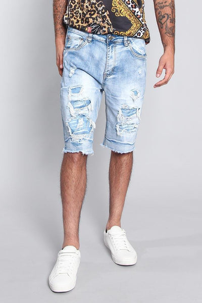 Cotton: Mens: Shorts 97%: Distressed Illusion Denim.