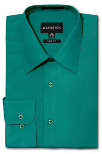 Cotton: Mens: Shirt: Slim Fit Solid Color Dress(Teal).