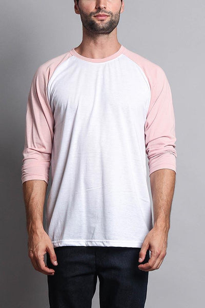 Cotton: Mens: T-Shirt: (White/Dirty Pink).