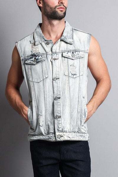 Cotton: Mens: Jacket 100%: Distressed Checker Denim(Vest).