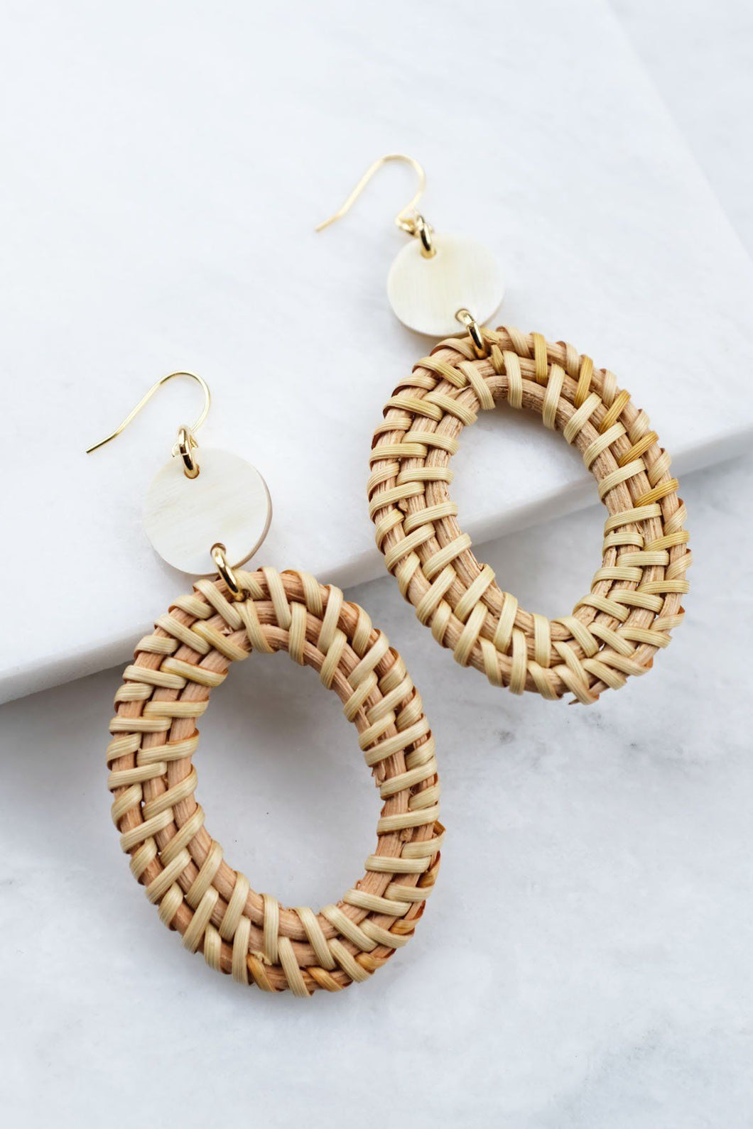 Jewelry: Earrings: 16K Gold-Plated Brass Buffalo Horn & Rattan Oval Statement.
