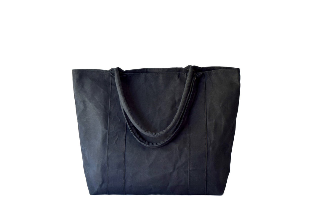Linen: Canvas: Tote: Marie In Black Waxed.
