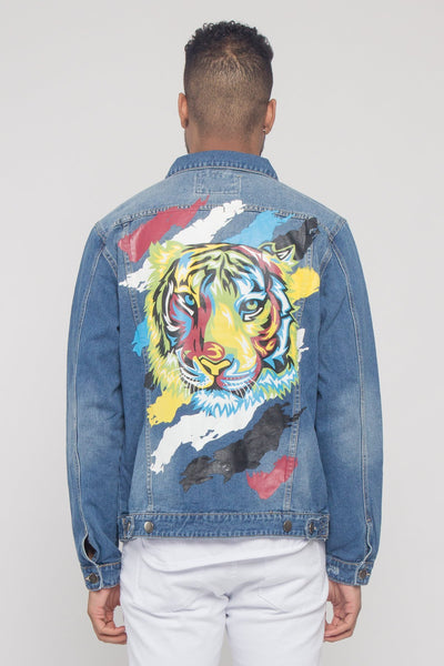 Cotton: Mens: Jacket 100%: Colorful Painted Tiger Denim.