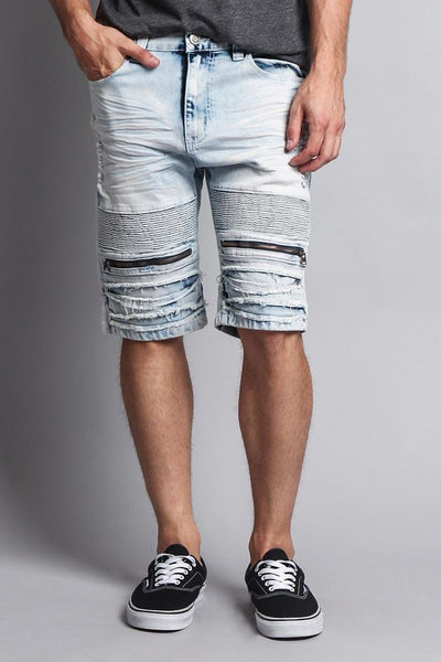 Cotton: Mens: Shorts 97%: Stain Wash Biker Denim.
