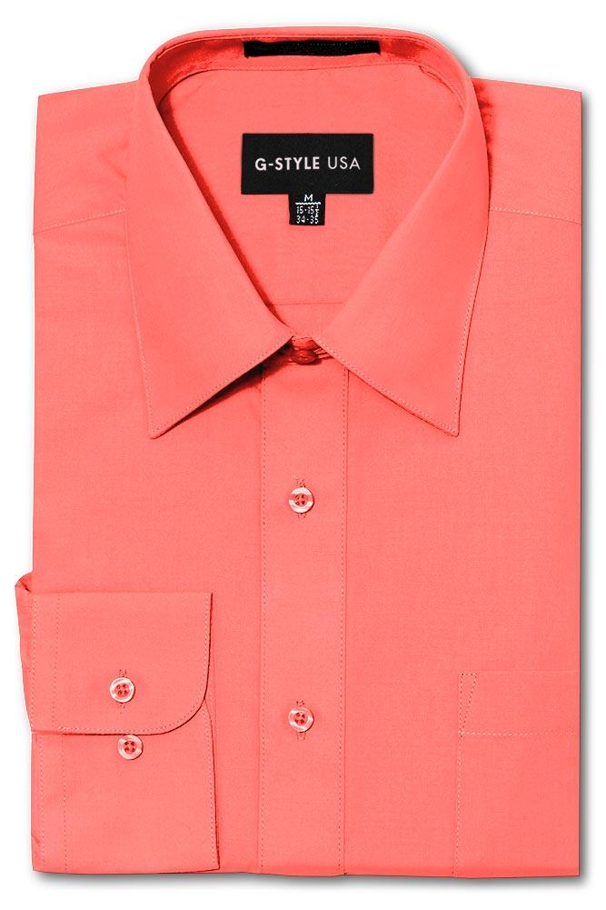 Cotton: Mens: Shirt: Basic Solid Color Button Up Dress(Coral).