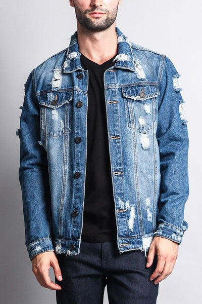 Cotton: Mens: Jacket 100%: Distressed Faded Denim.