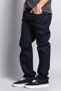 Cotton: Mens: Jeans 90%: Straight Fit Raw Denim(Raw Indigo).