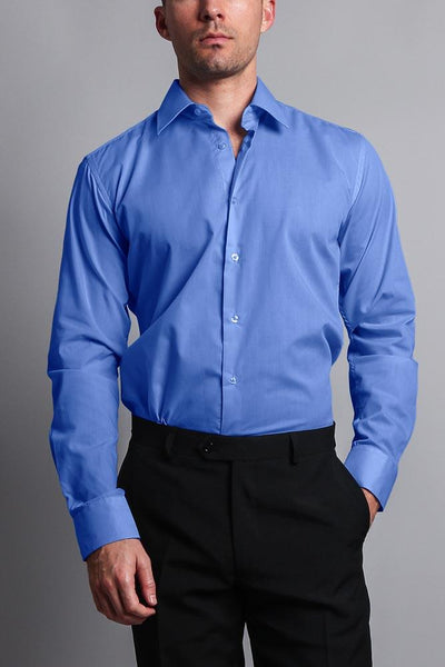 Cotton: Mens: Shirts: Slim Fit Solid Color Dress(French Blue).
