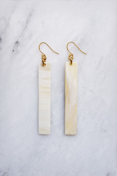 Jewelry: Earrings: Tinh 16K Gold-Plated Brass Buffalo Horn Minimalist Bar.