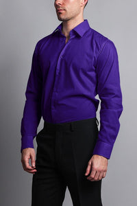 Cotton: Mens: Shirt: Slim Fit Solid Color Dress(Purple).