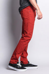Cotton: Mens: Jeans 97%: Skinny Fit Colored(Burnt Orange).