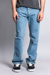 Cotton: Mens: Jeans 100%: Straight Fit Washed Denim(Washed Light Indigo).