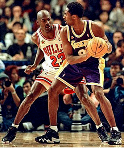Michael Jordan (Left) vs. Kobe Bryant (Right) in 1998 All-Star Game. Credit: Undefeated