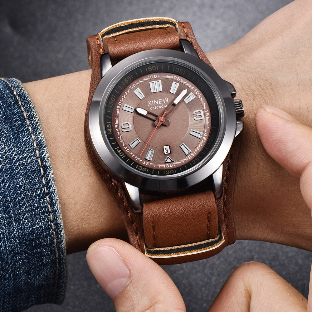 SPORTS MEN WATCH QUARTZ DATE CLOCK CASUAL LEATHER