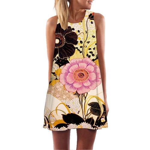 Printed Sleeveless Chiffon Summer Dresses