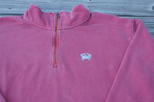 Embroidered Crab Quarter Zip Sweatshirt