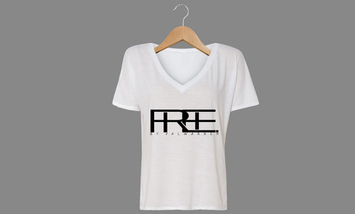 Free Block V-Neck (Wht)