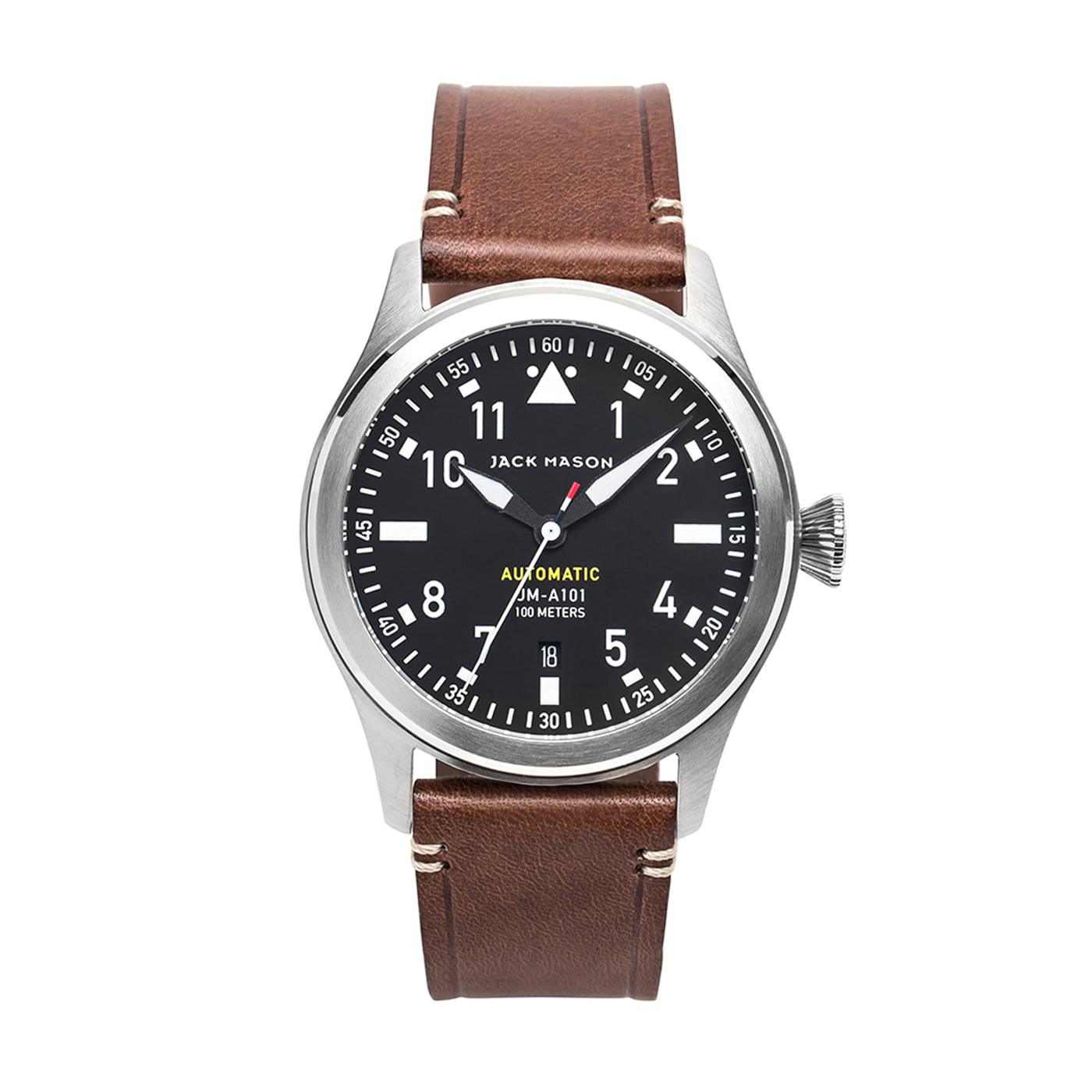 black & silver men aviator automatic watch