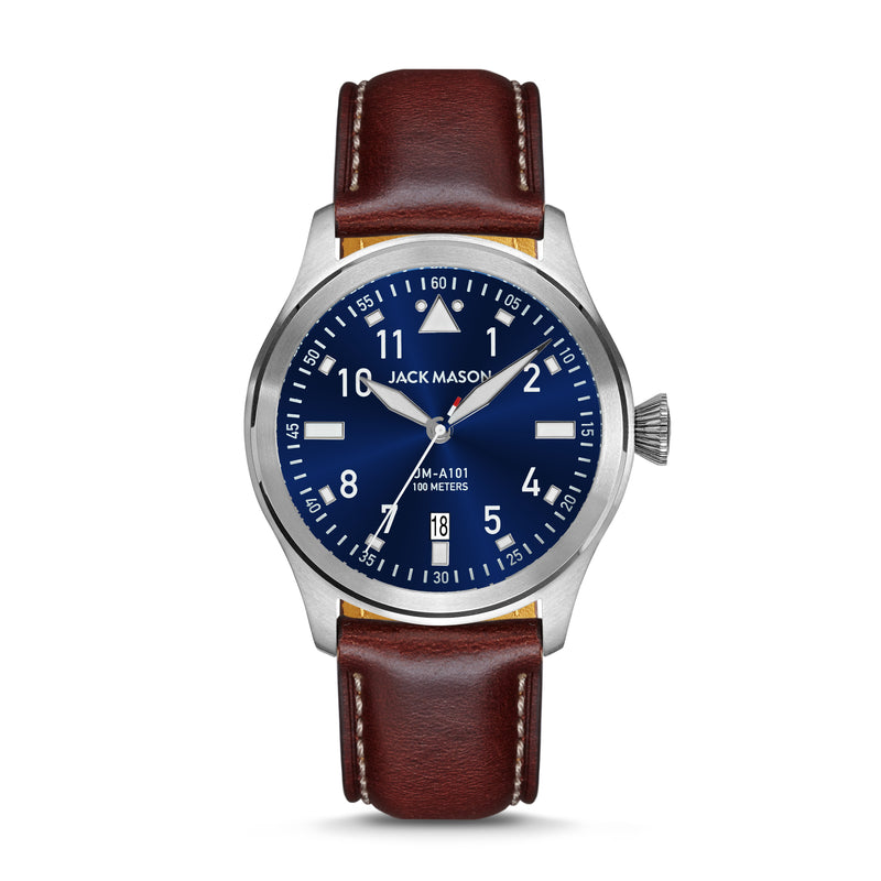 Navy blue aviator watch with brown leather watch straps