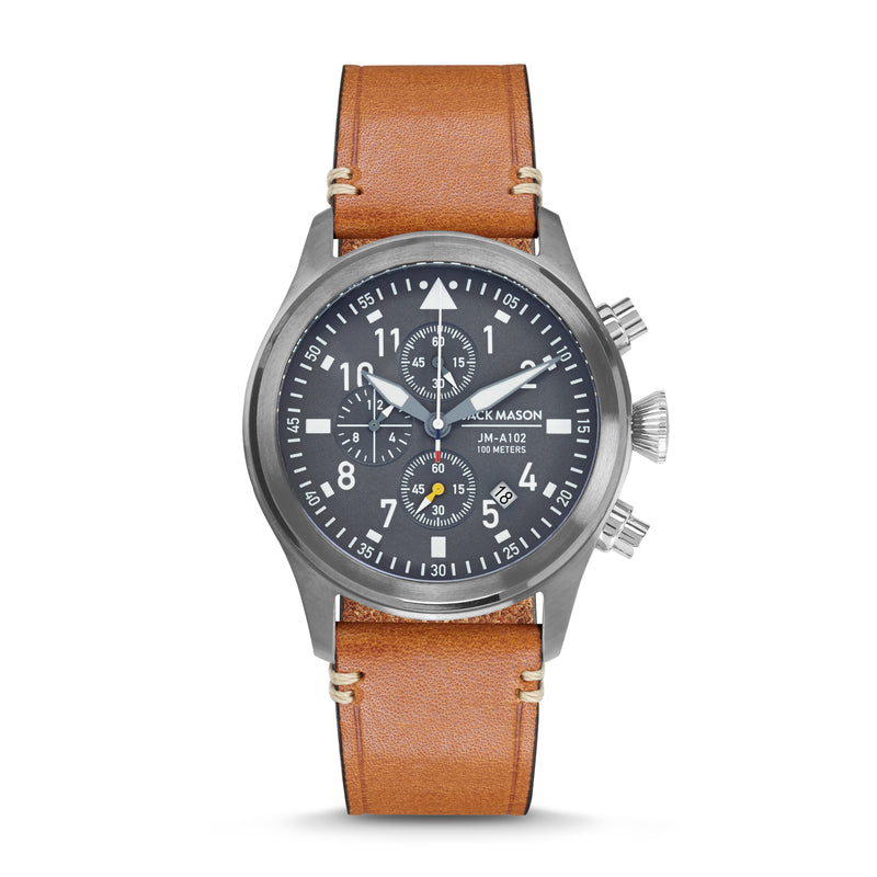 gunmetal aviator watch with light brown leather watch strap