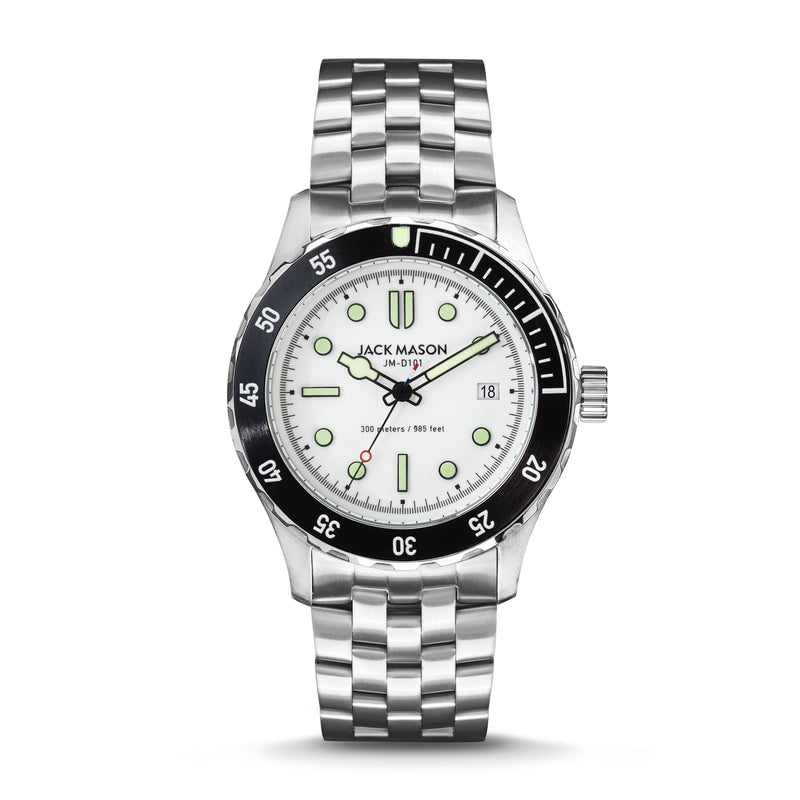 White, Black, and Stainless Steel men's diving watch by Jack Mason