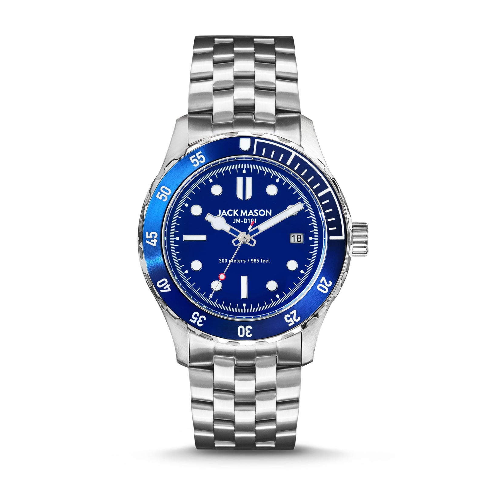 men's blue diving watch with bracelet style watch band