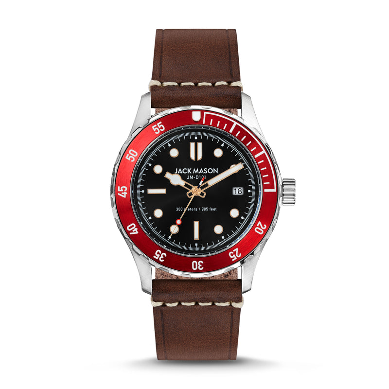 The Jack Mason red, black, and stainless steel Diver watch