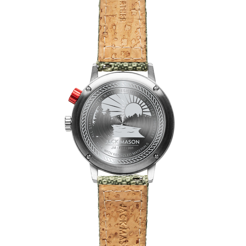 A look at the back of the Solar Watch and matching cork watch strap