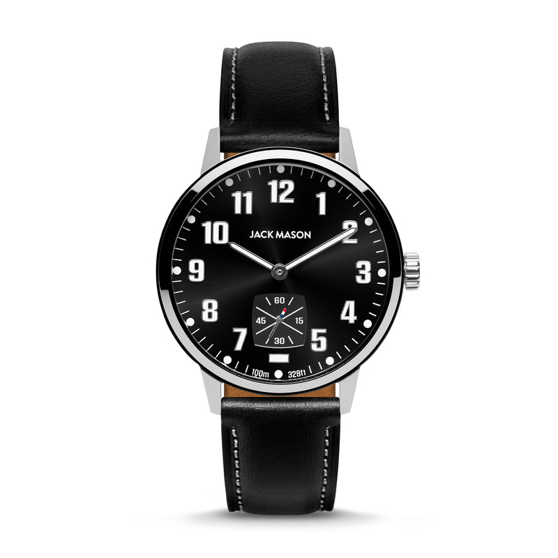 The Overland 42 watch with a black dial and black leather strap