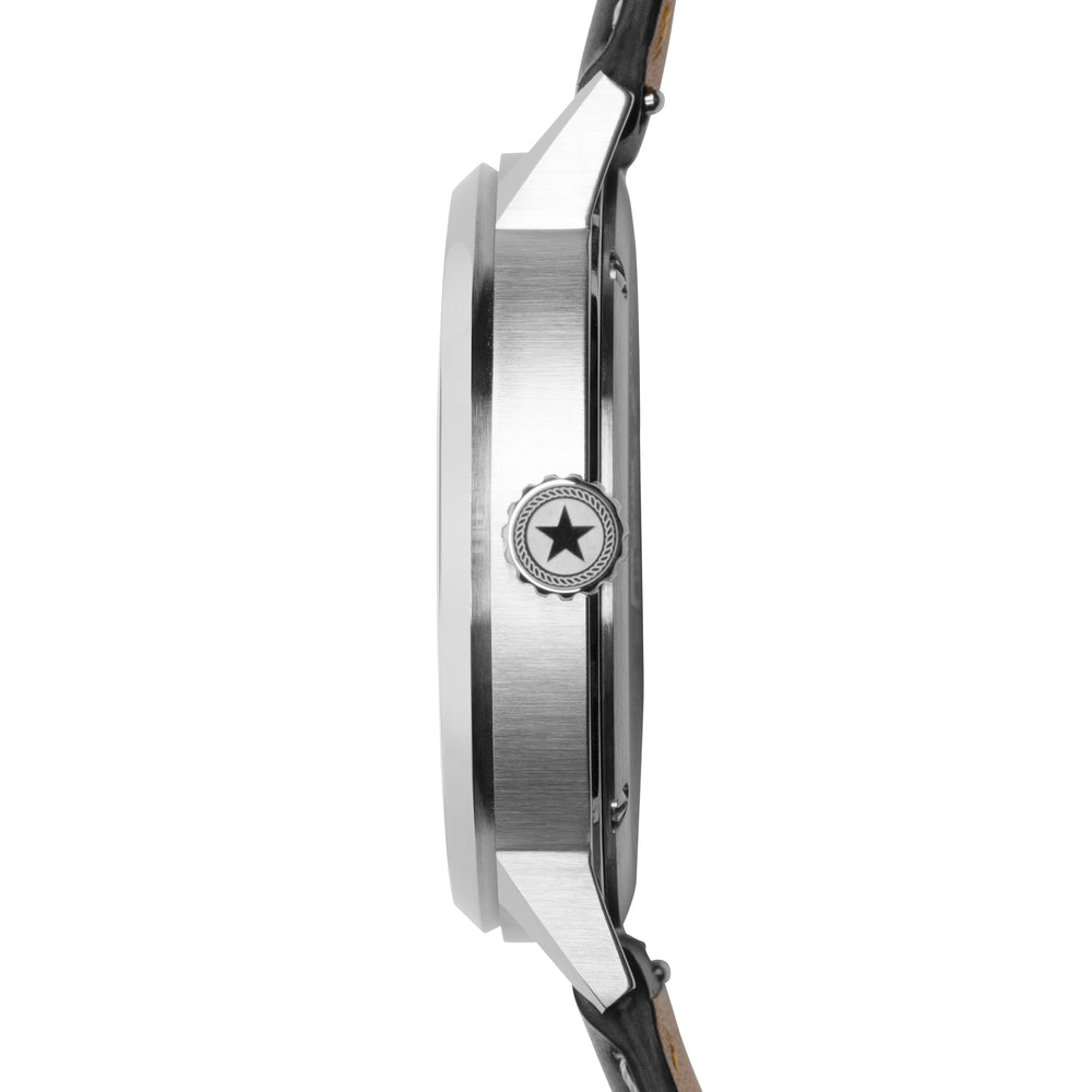 The side of the Overland 42 watch's stainless steel case