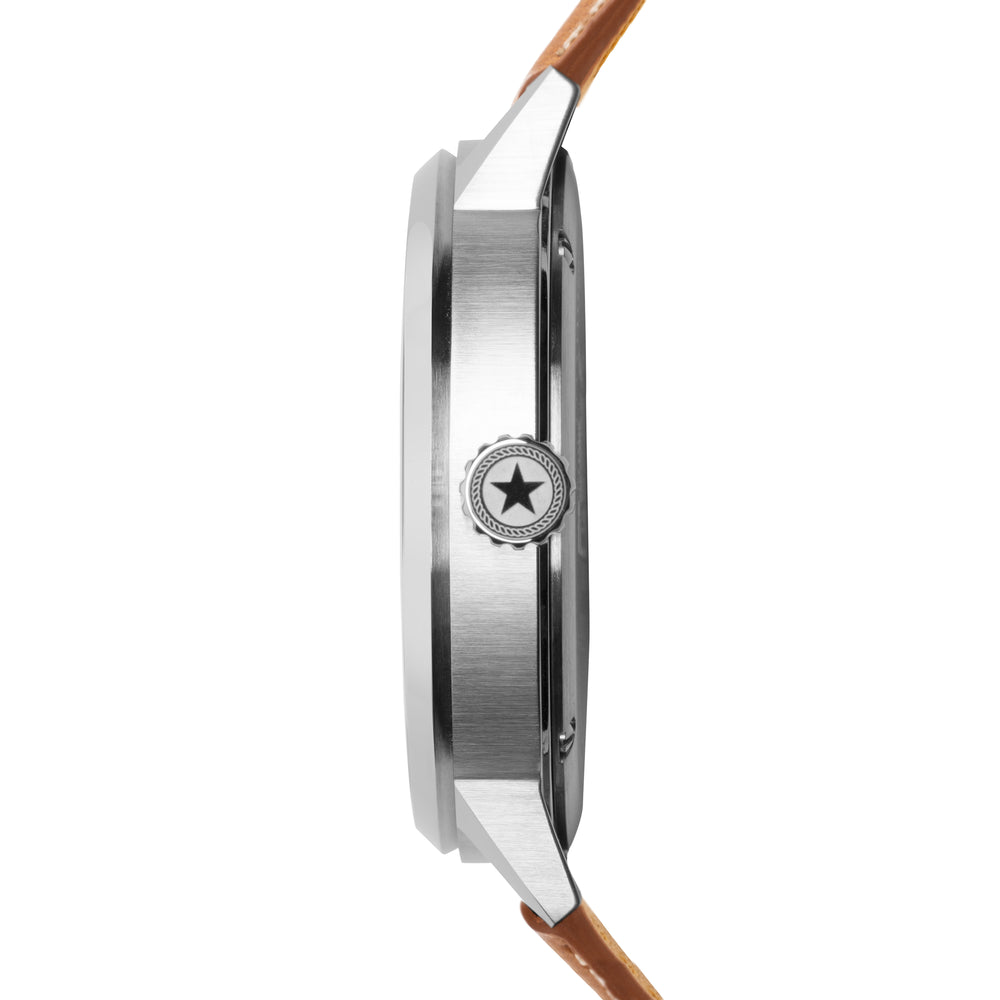 A view of the stainless steel casing on the Overland 42 watch