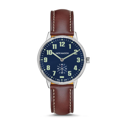 Navy Blue Field Watch with Brown Leather Watch Straps