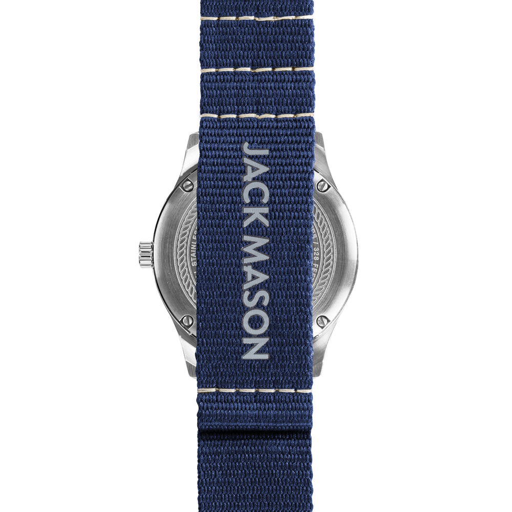 The back of the blue nylon watch band on the field 38mm watch