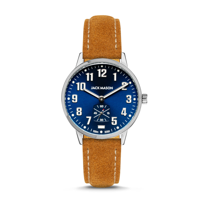 Jack Mason's Field watch in navy blue and with a tan suede watch band