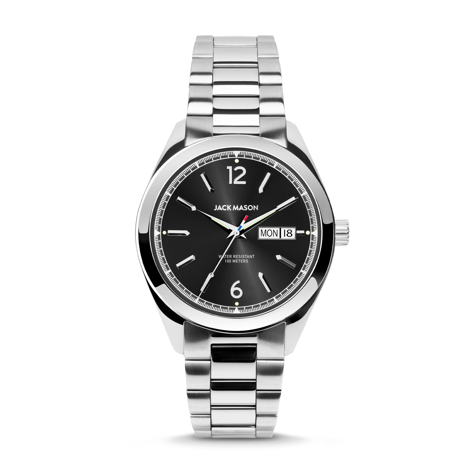 A stainless steel and black dial version of the Canton Day-Date Watch by Jack Mason