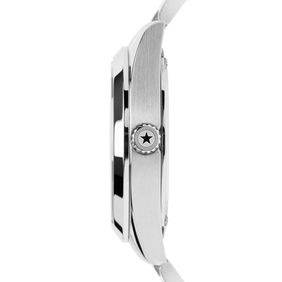 The side view of the stainless steel case on the Canton Day-Date Automatic watch