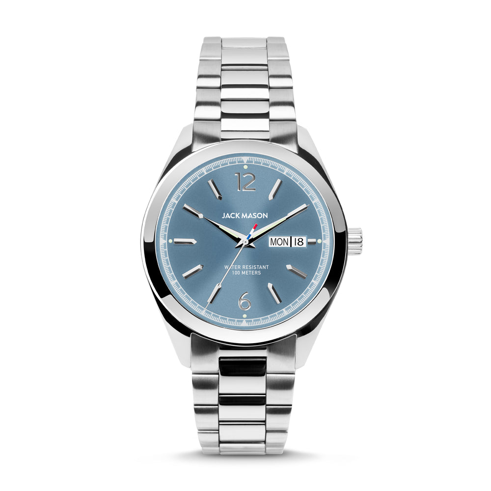 The Canton Day-Date Automatic watch with a light blue dial