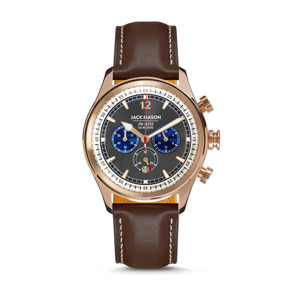 grey and rose gold aviator chronograph watch