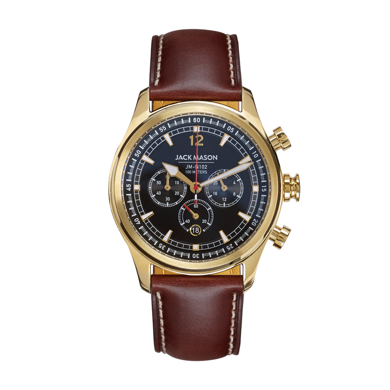 black and yellow gold nautical chronograph with brown leather watch strap