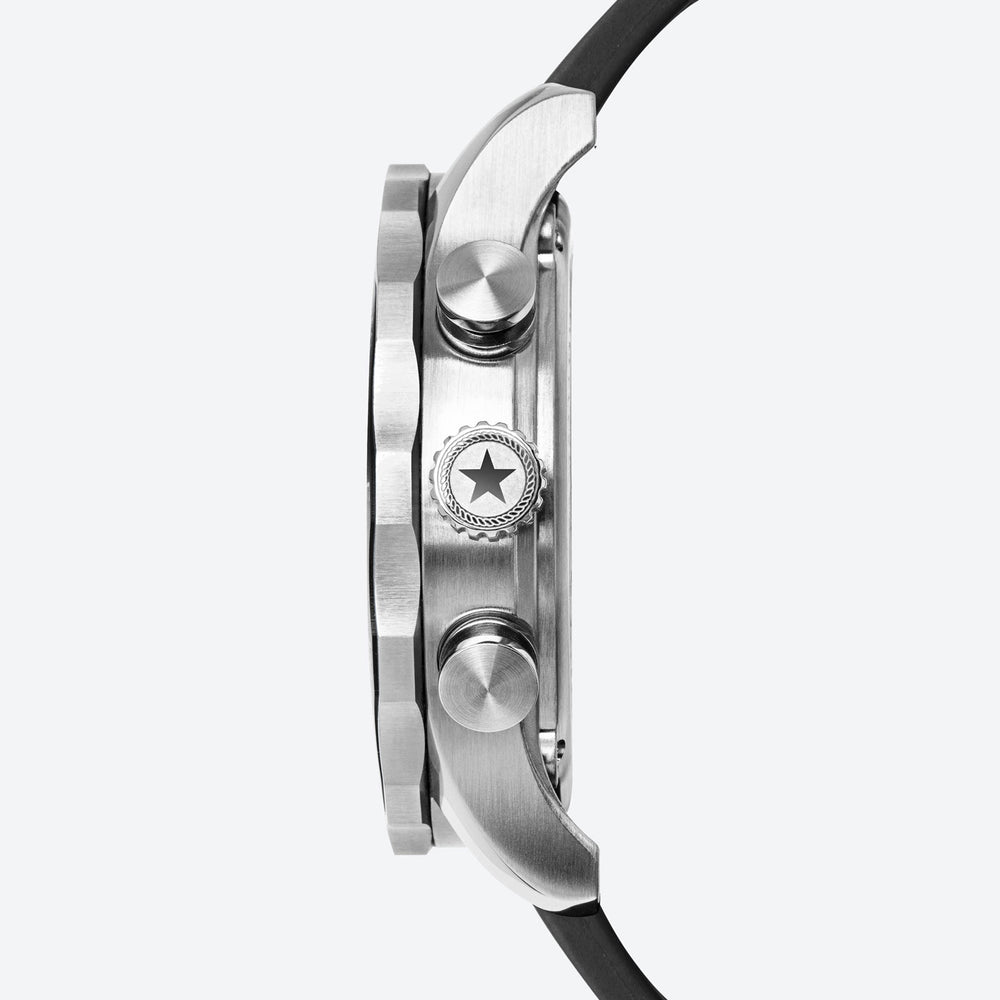 a close up side view of the stainless steel case on the men's regatta timer watch