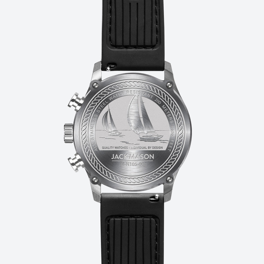 the detailed engravings on the back of the men's regatta timer watch with black rubber watch band