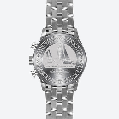 the back of the men's regatta timer watch with engravings