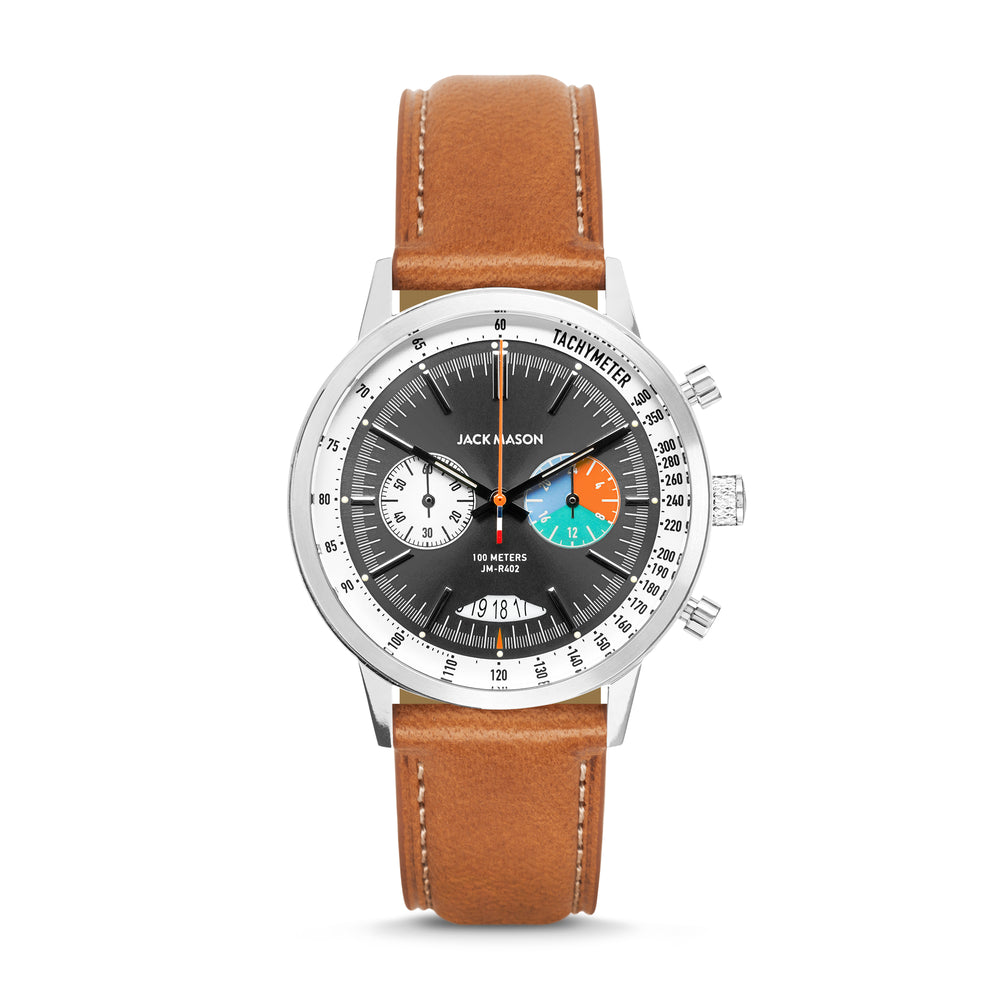 Black and stainless steel racing chronograph watch with tan leather watch strap