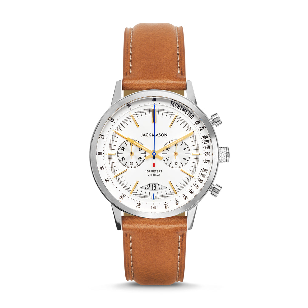 stainless steel men's racing chronograph with tan leather watch band